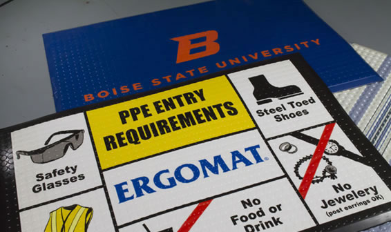 Ergomat with Safety Advice and Logos